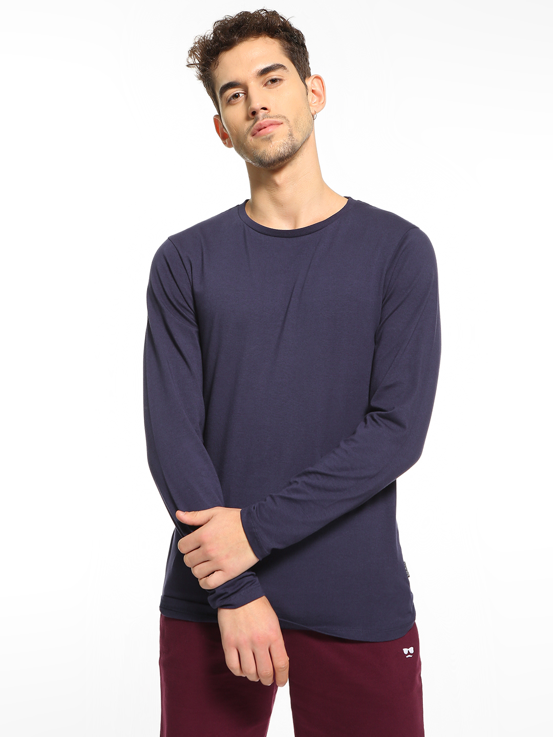 KOOVS Navy Basic Long Sleeve T-Shirt 1