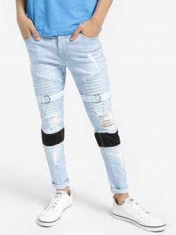 Kultprit Light Wash Distressed Pintuck Skinny Jeans