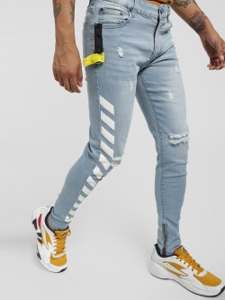 Kultprit Distressed Printed Tape Skinny Jeans