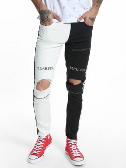 Kultprit Colour Block Ripped Skinny Jeans