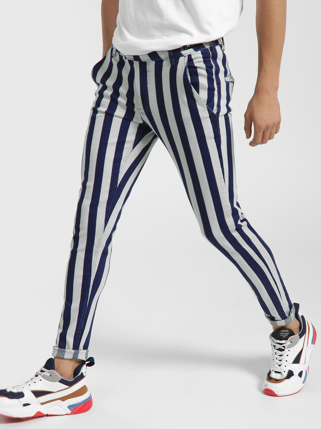 Kultprit Multi Colour Block Stripe Skinny Jeans 1