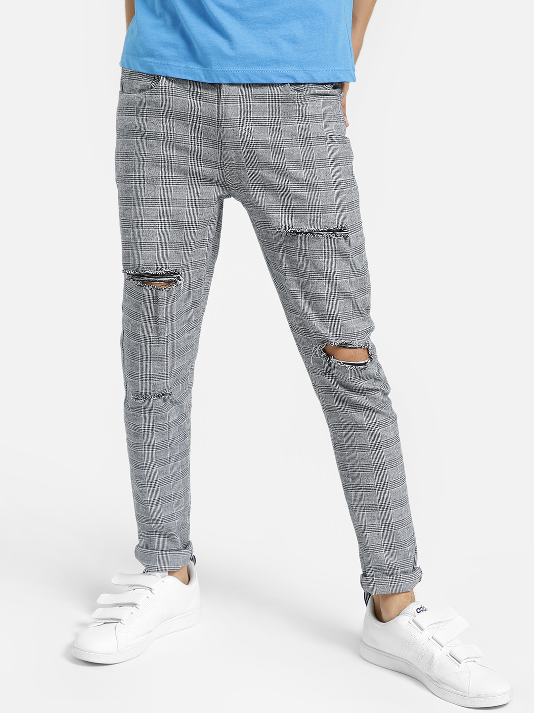 Kultprit Multi Distressed Glen Check Slim Trousers 1