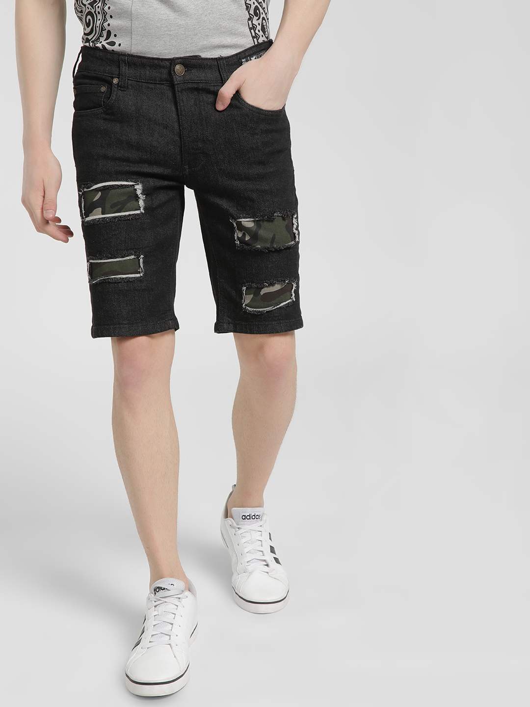 Kultprit Black Dark Wash Distressed Camo Patch Shorts 1