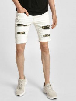 Kultprit Distressed Camo Patch Shorts
