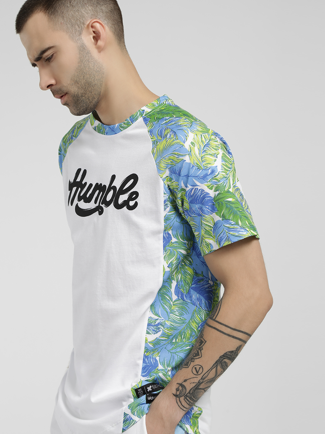Kultprit White Humble Tropical Print T-Shirt 1