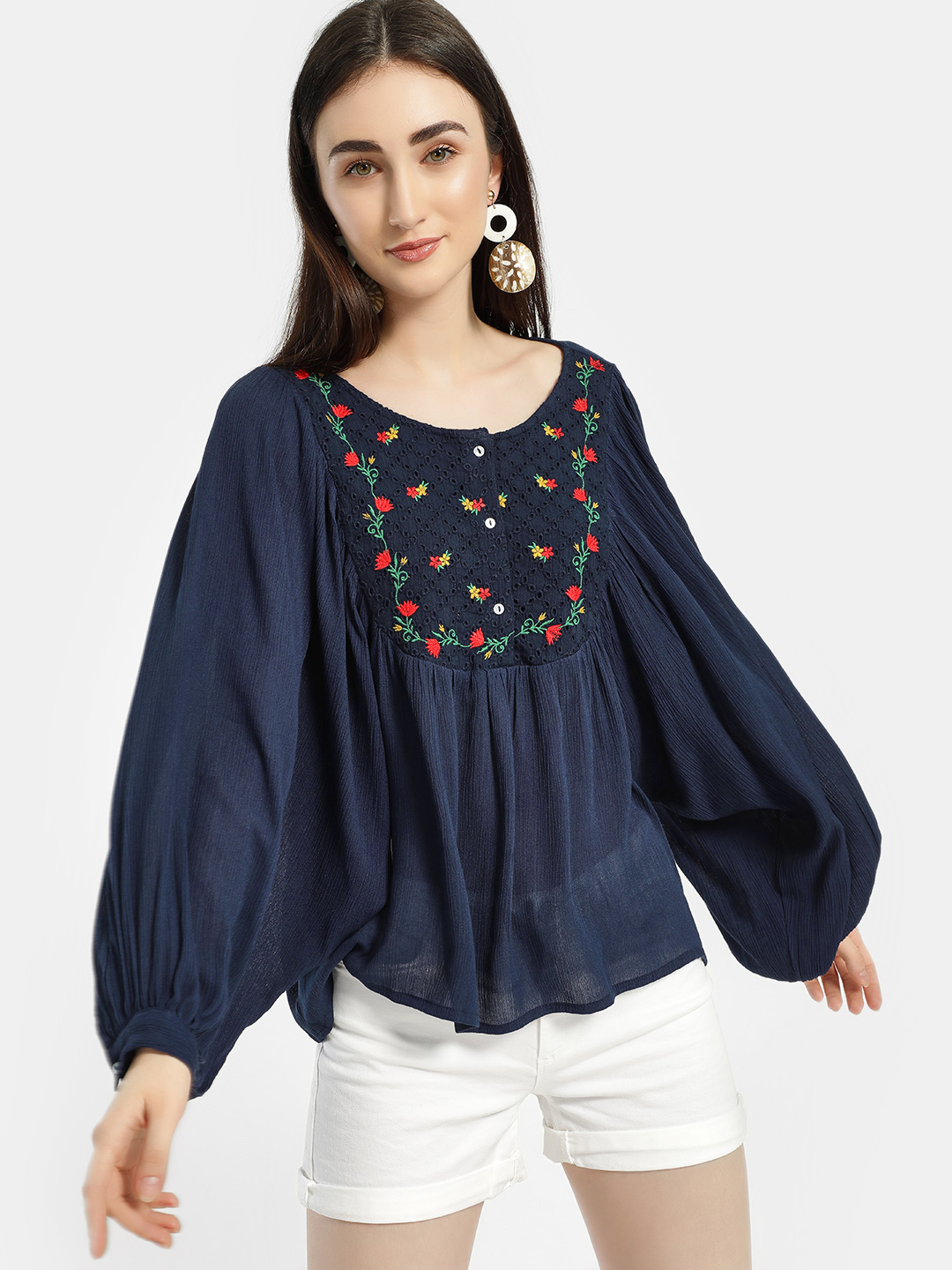 Rena Love Blue Yoke Embroidered Blouse 1