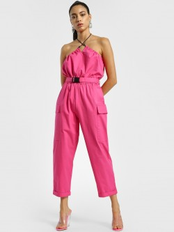 KOOVS Drawcord Neck Buckle Belt Jumpsuit