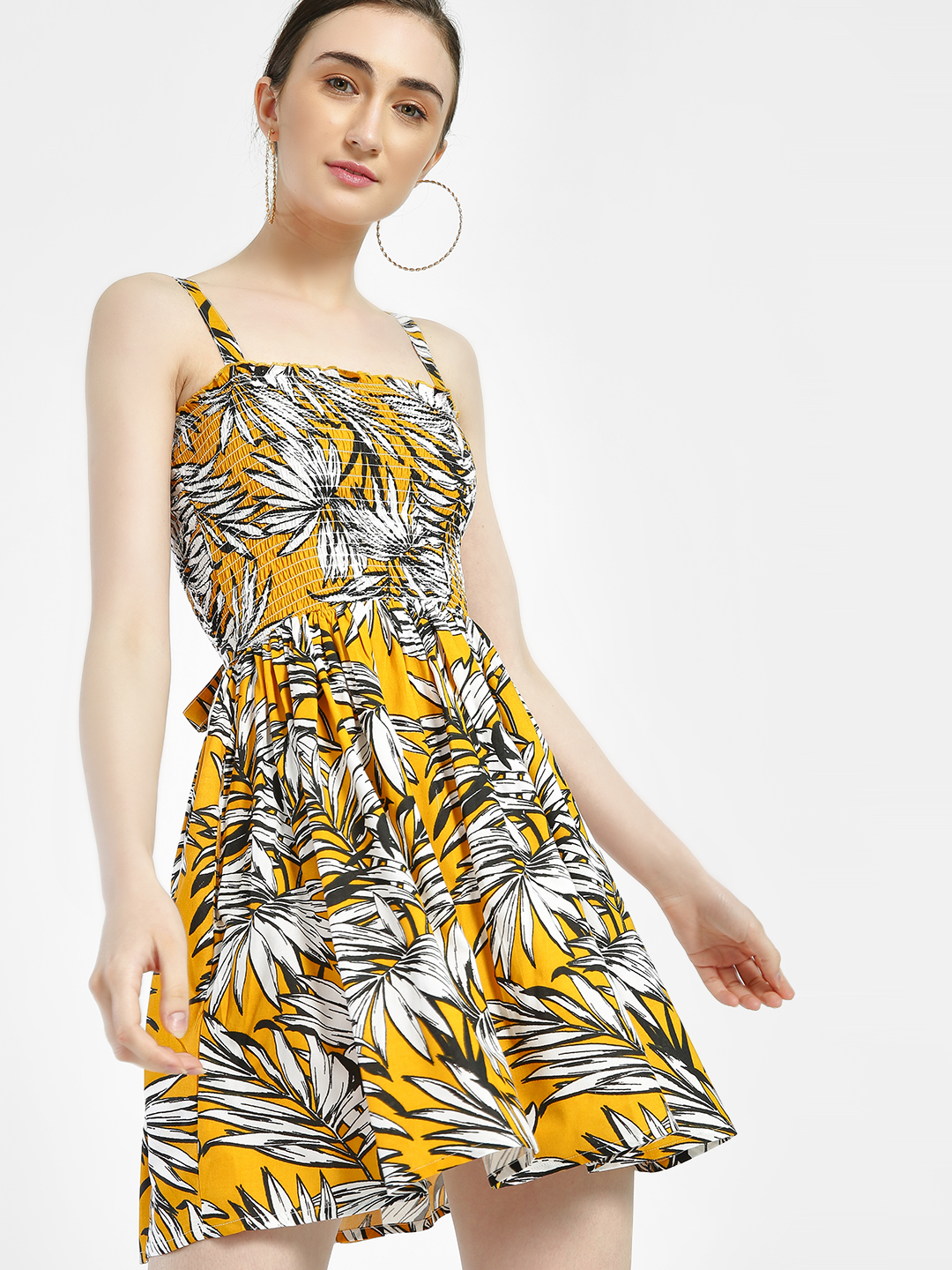 KOOVS Multi Tropical Print Strappy Skater Dress 1