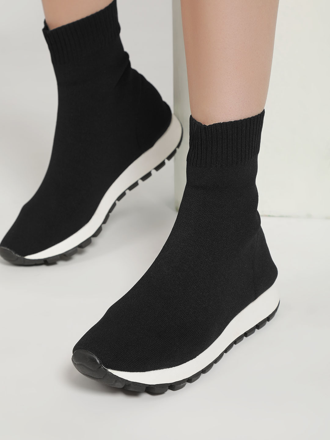 Sole Story Black Knitted Sockliner Trainers 1