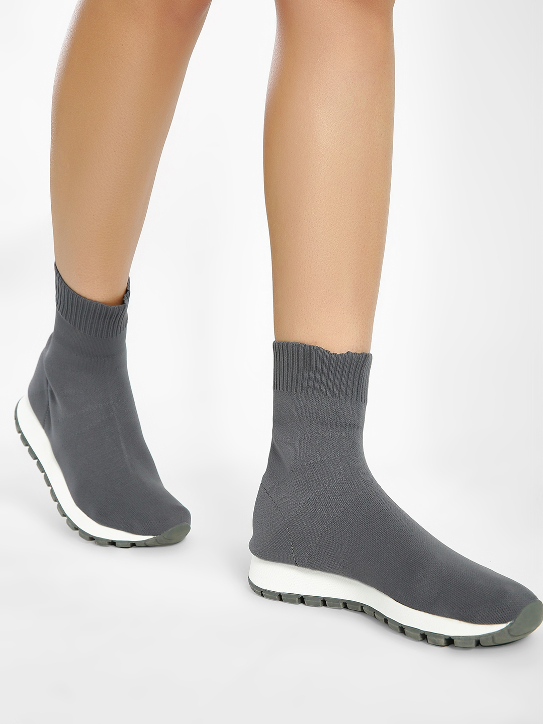 Sole Story Grey Knitted Sockliner Trainers 1