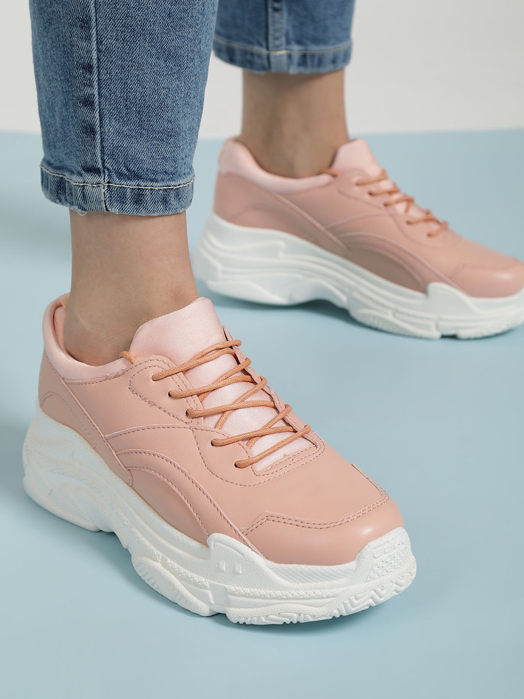 Sole Story Pink Chunky Sole Patch Up Trainers 1