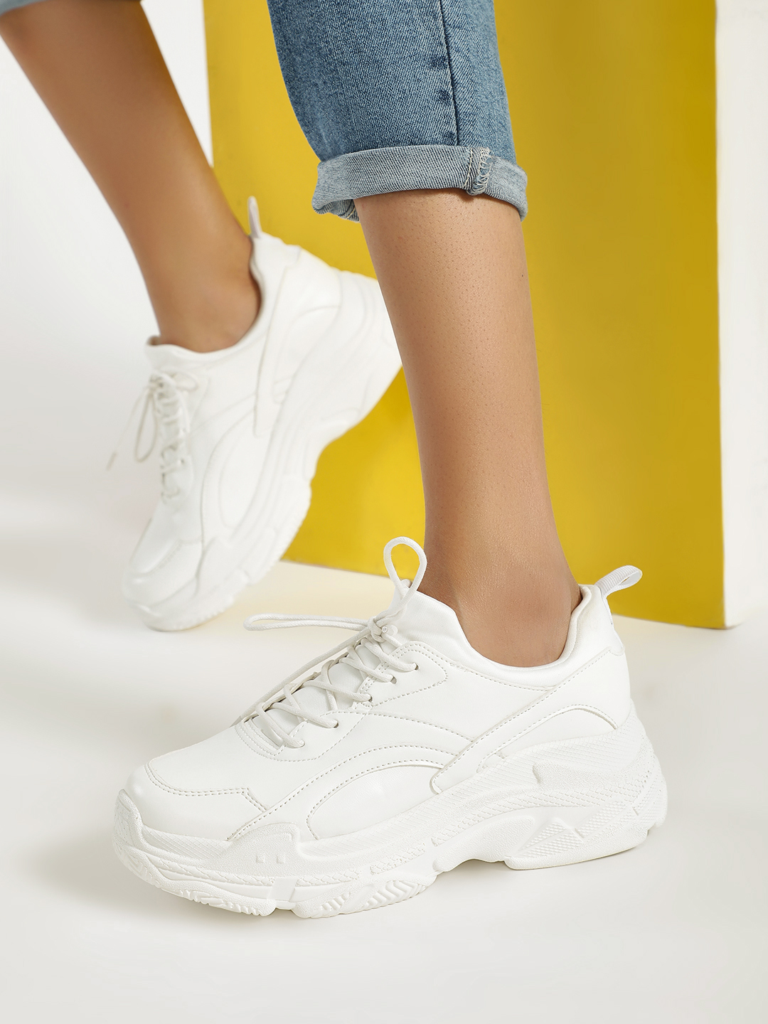 Sole Story White Chunky Sole Patch Up Trainers 1