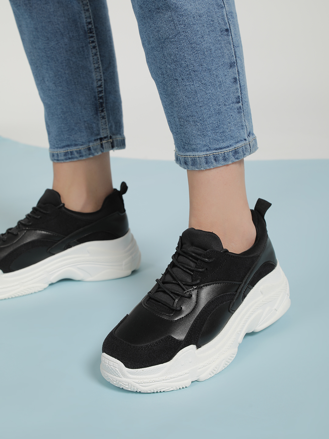 Sole Story Black Chunky Sole Patch Up Trainers 1