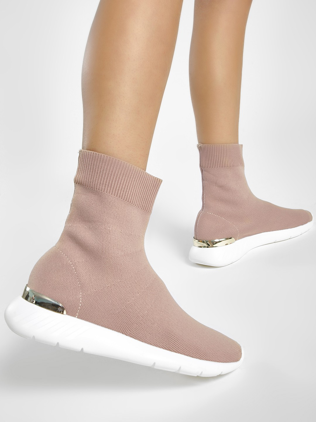 Sole Story Beige Back Metallic Panel Knitted Sockliner Shoes 1