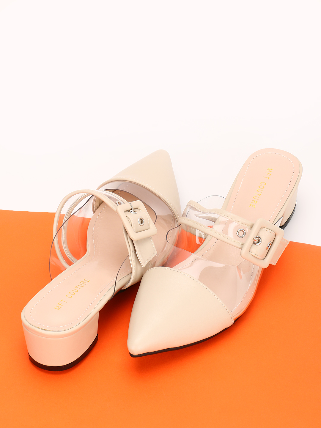 My Foot Couture Cream Clear Buckle Strap Heeled Shoes 1