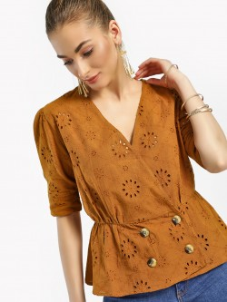 Kisscoast V-Neck Broderie Blouse