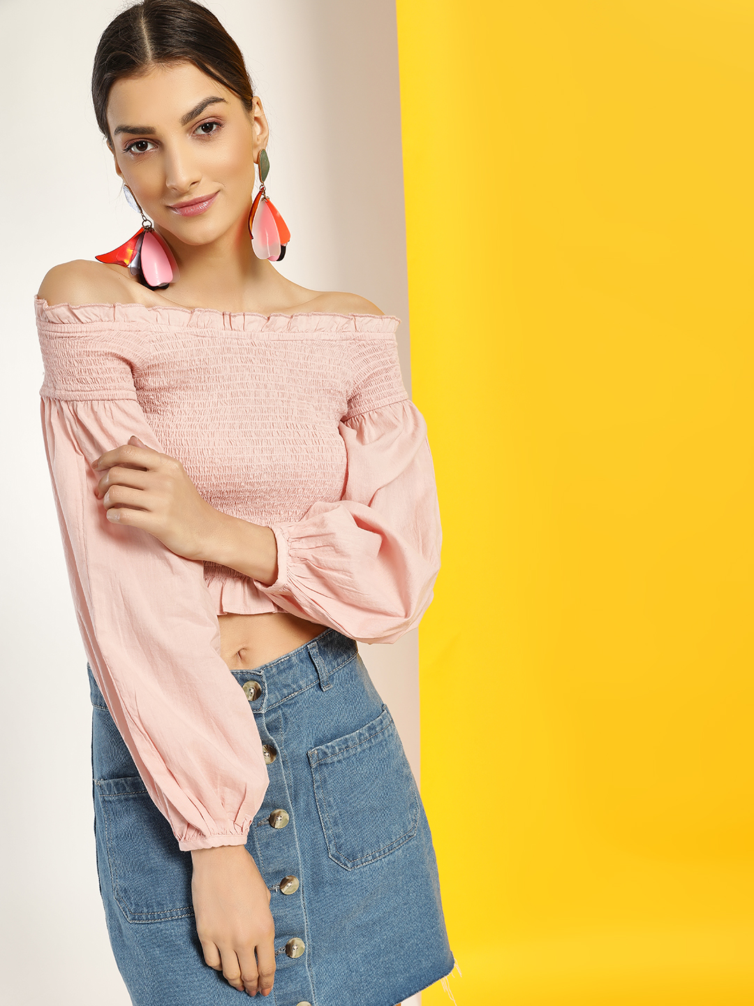Kisscoast Pink Smocked & Cropped Off-Shoulder Top 1