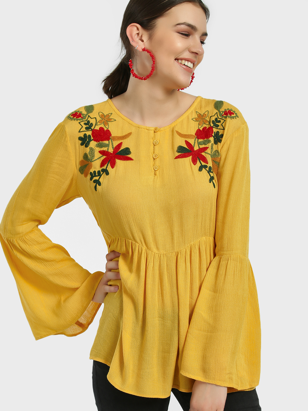 Kisscoast Yellow Floral Yoke Embroidered Blouse 1