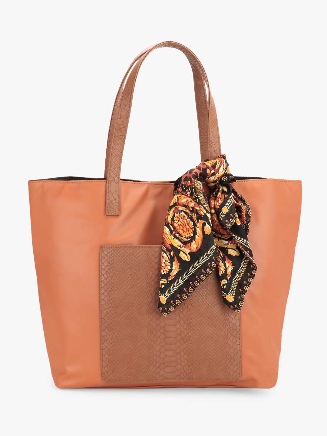 Gusto Brown Textured Pocket Oversized Tote Bag 1
