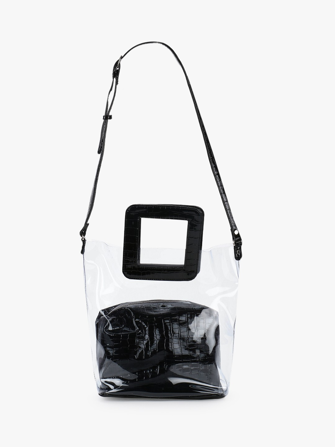 Gusto Black Patent Crocskin Clear Tote Bag 1