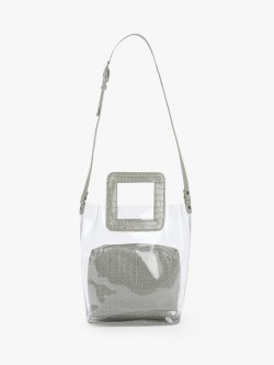 Gusto Patent Crocskin Clear Tote Bag