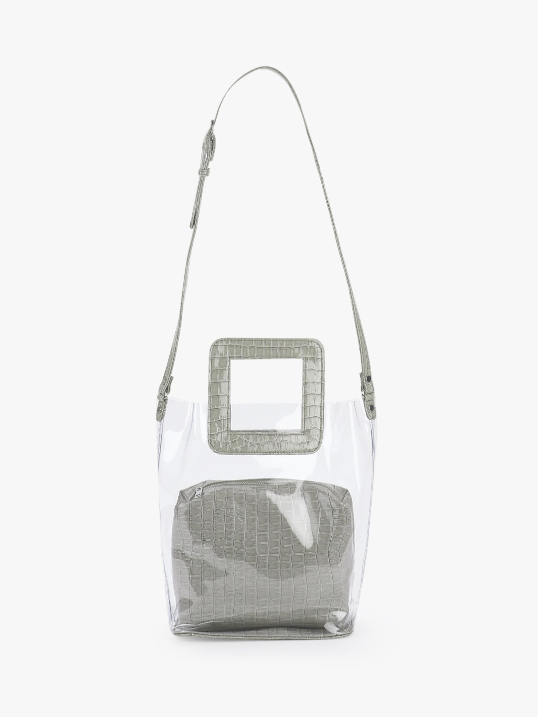 Gusto Grey Patent Crocskin Clear Tote Bag 1