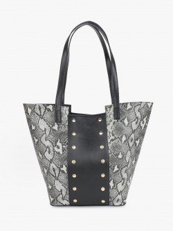 Gusto Snakeskin Studded Panel Tote Bag