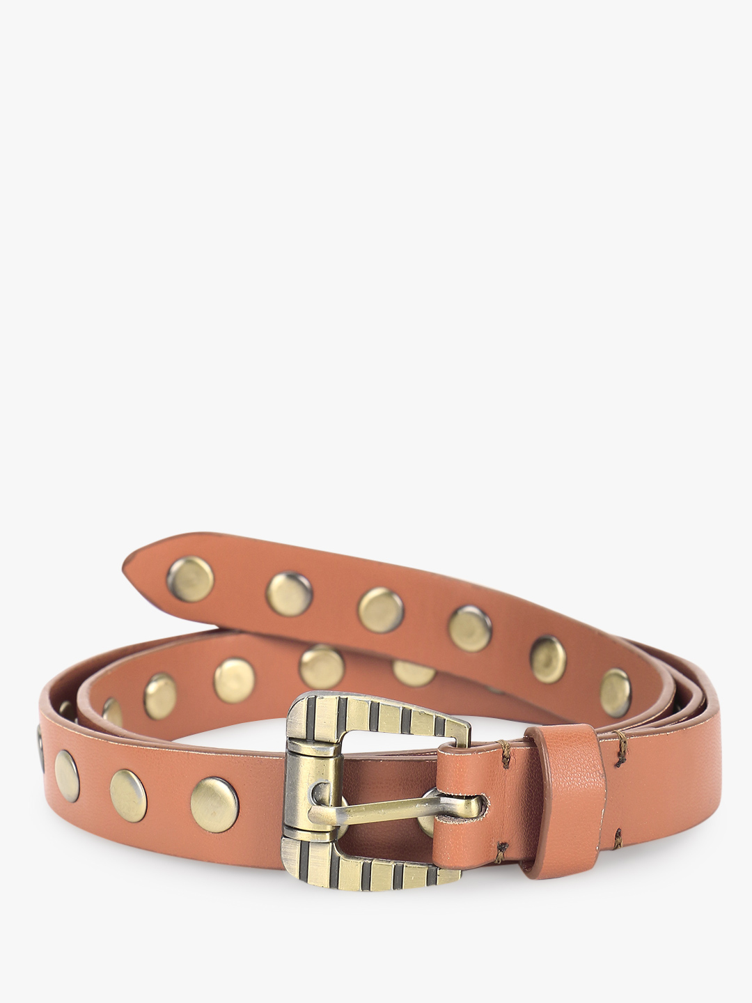 Gusto Brown Studded Belt 1