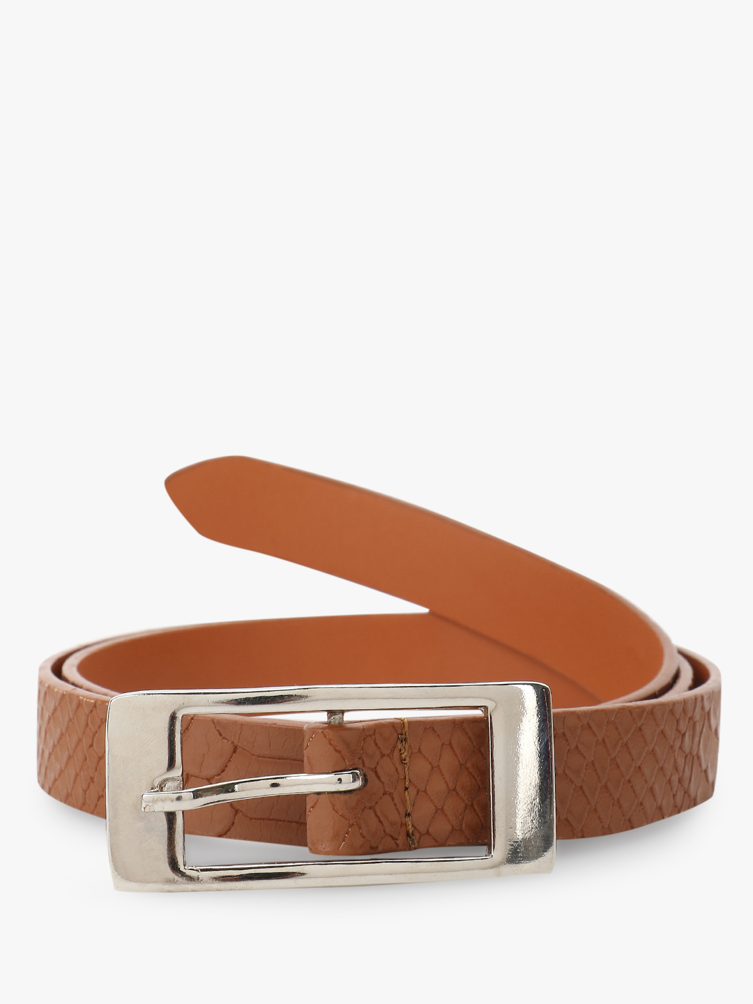 Gusto Brown Crocskin Texture Belt 1