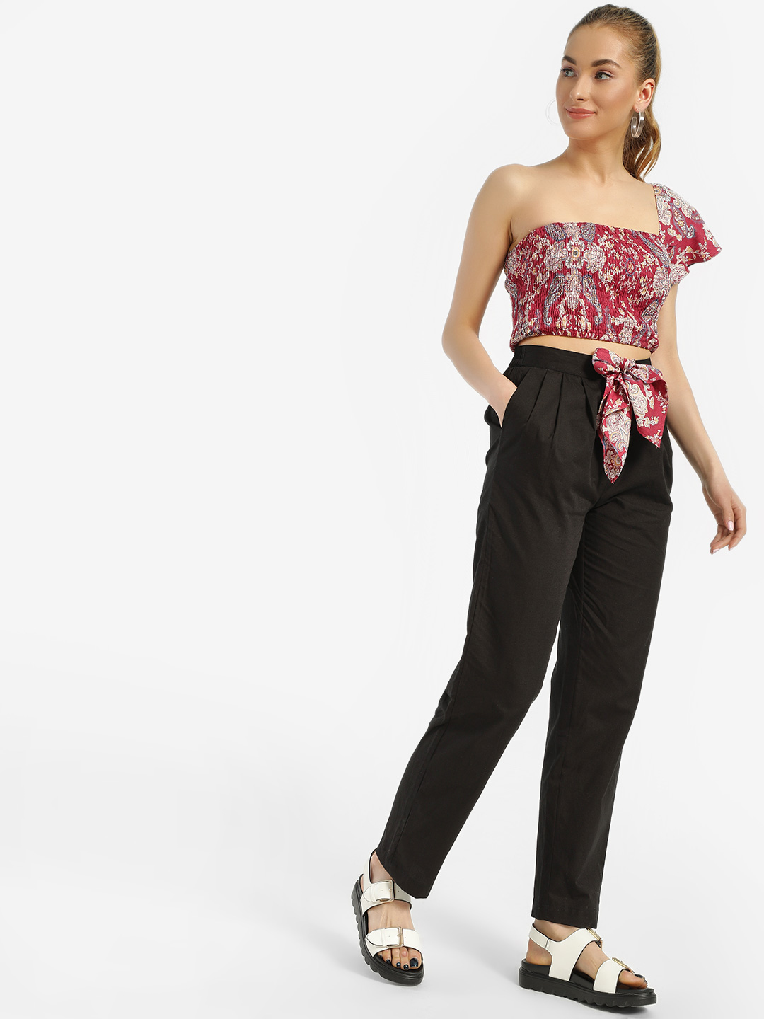 MIWAY Black Scarf Print Tie-Knot Trousers 1