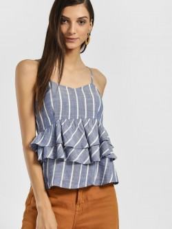 Only Chambray Stripe Strappy Peplum Top