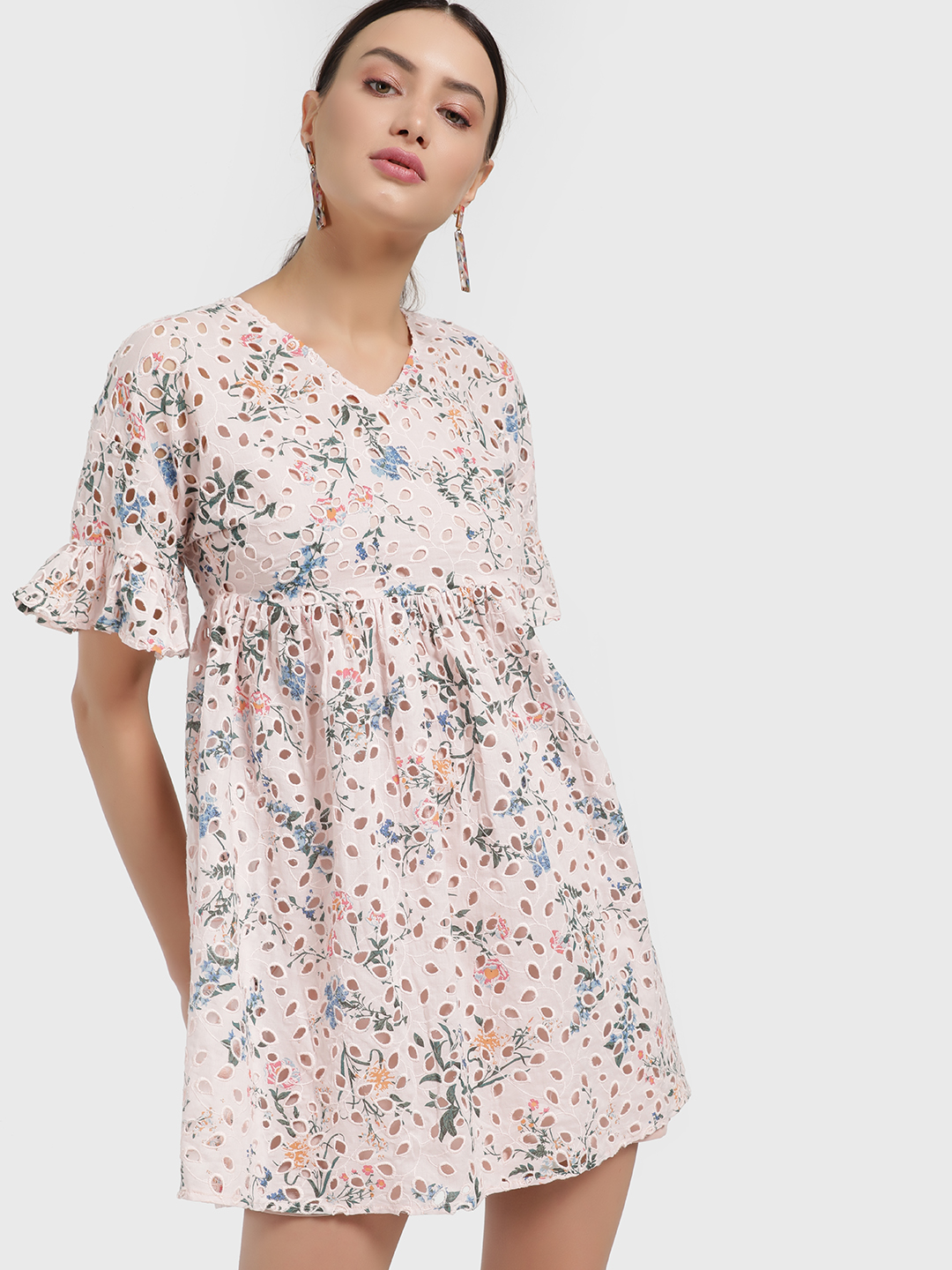 Only Pink Floral Print Broderie Shift Dress 1