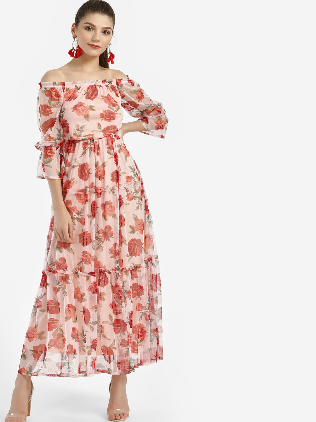 KOOVS Multi Floral Mesh Print Maxi Dress 1