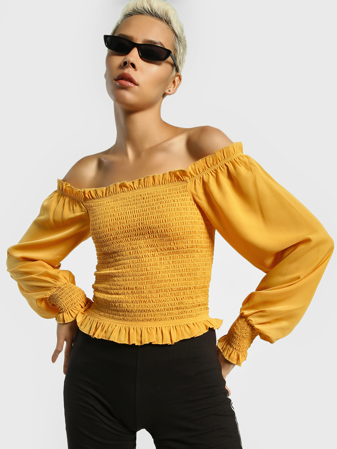 KOOVS Yellow Smocked Off-Shoulder Top 1