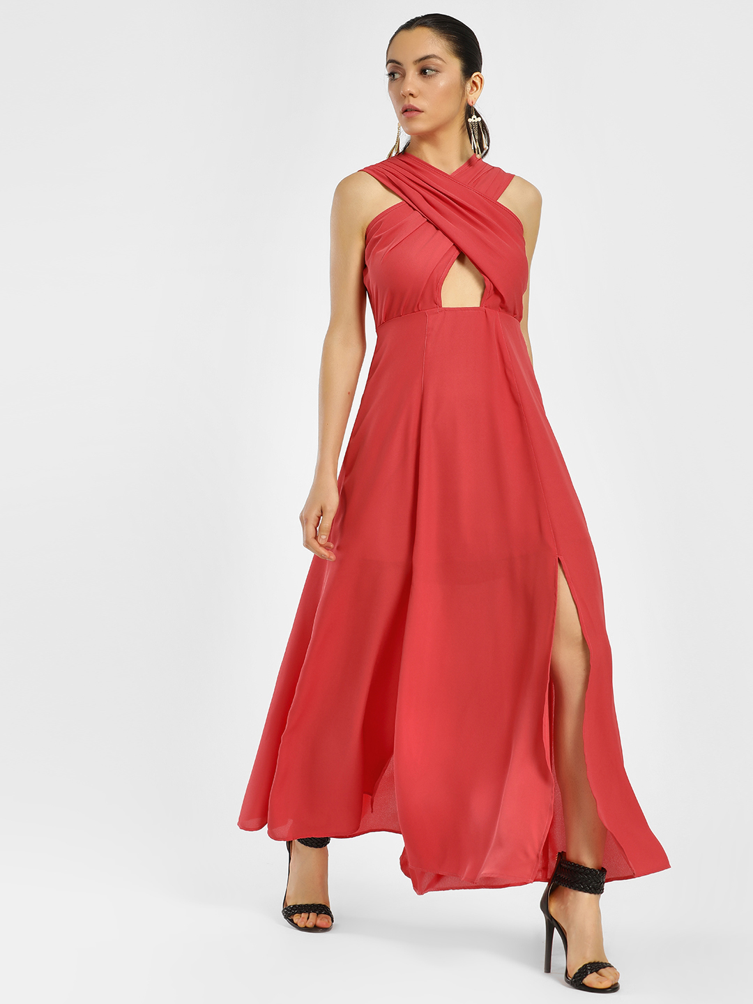 KOOVS Red Criss Cross Maxi Dress 1