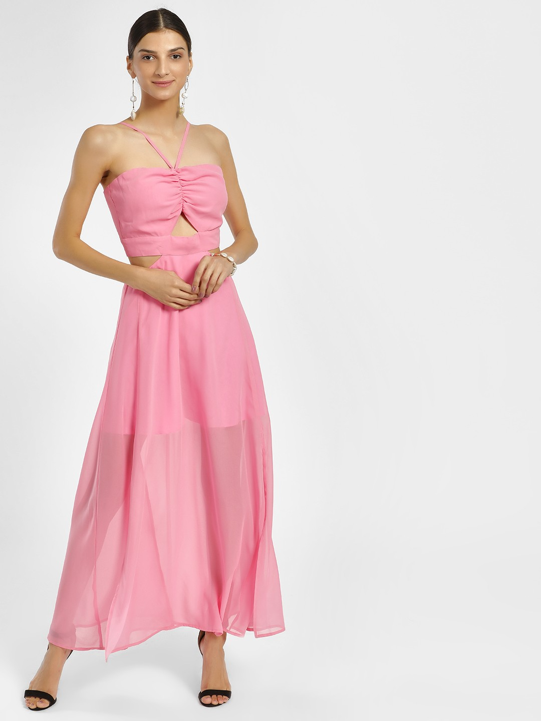 KOOVS Pink Front Cut-Out Maxi Dress 1