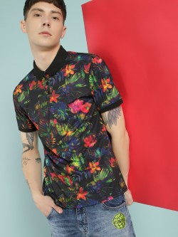 KOOVS Digital Floral Print Polo Shirt