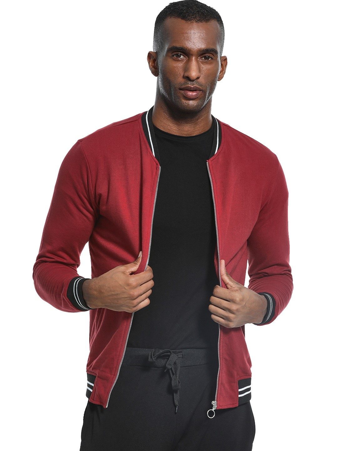 KOOVS Maroon Baseball Collar Knitted Sweat Jacket 1