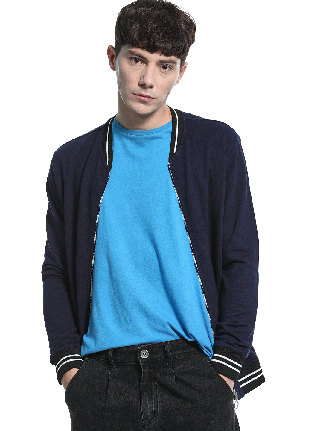 KOOVS Navy Baseball Collar Knitted Sweat Jacket 1