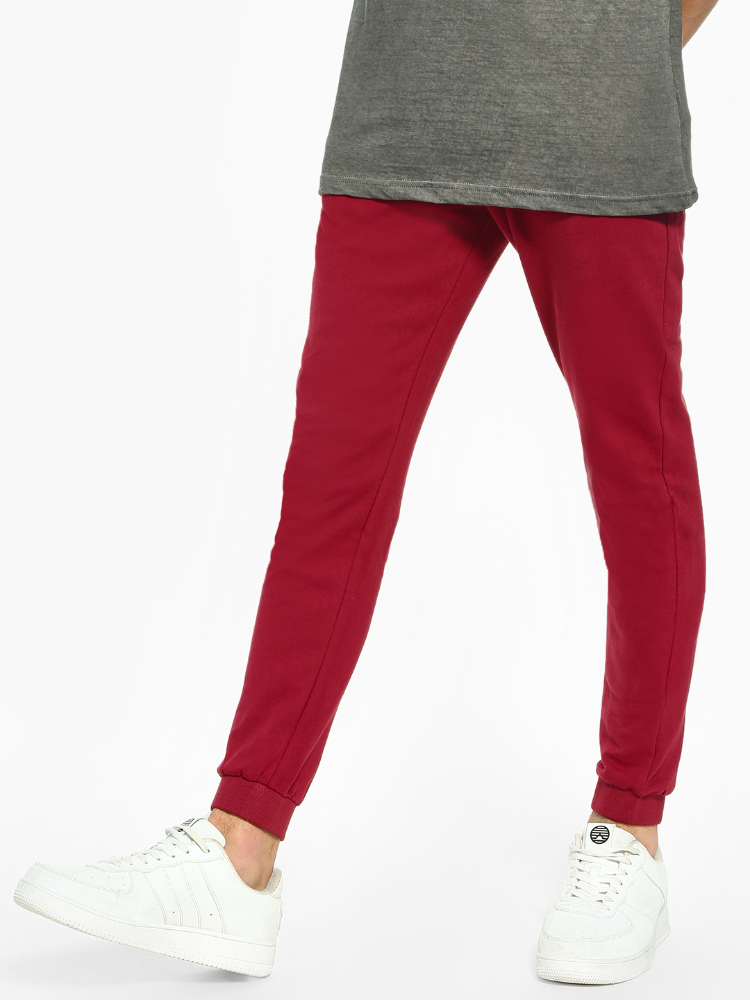 KOOVS Maroon Basic Slim Fit Joggers 1
