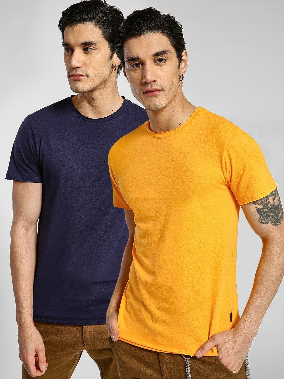 KOOVS NAVY/YELLOW Basic Crew T-Shirt (Pack Of 2) 1