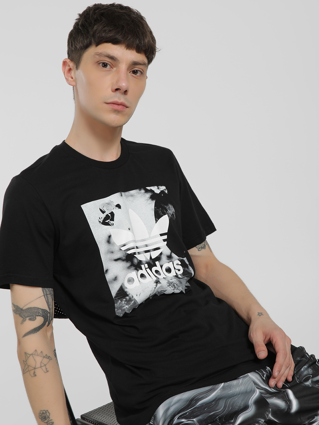Adidas Originals Black Photo Graphic Print Logo T-Shirt 1