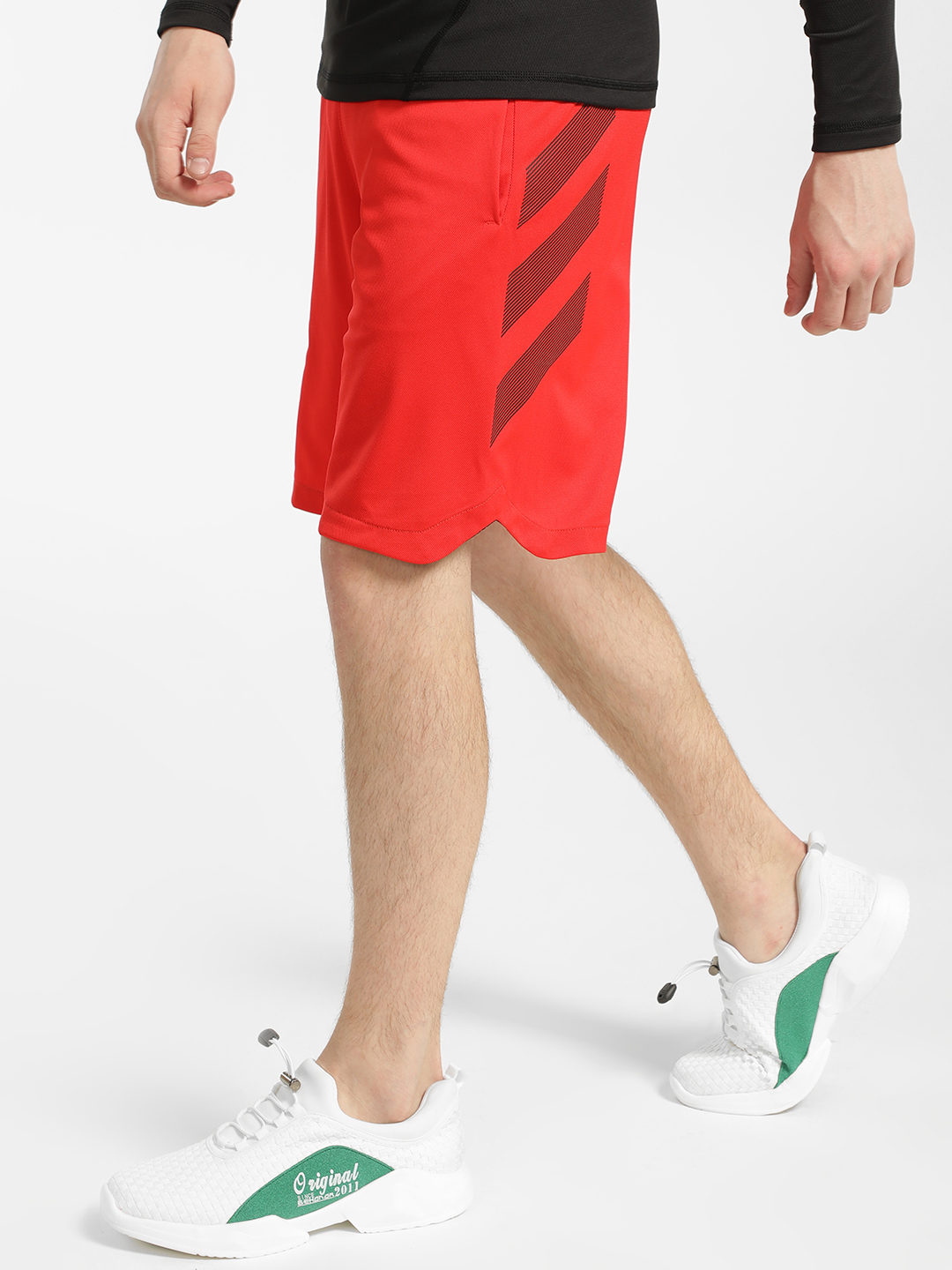 Adidas Red Accelerate 3-Stripe Shorts 1