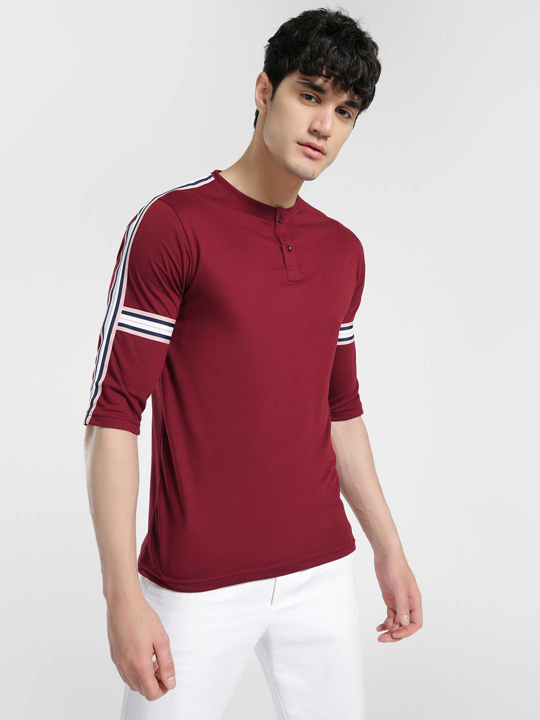Deezeno Red Contrast Side Tape Henley T-Shirt 1