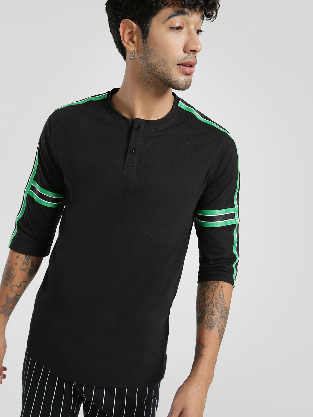 Deezeno Black Contrast Side Tape Henley T-Shirt 1