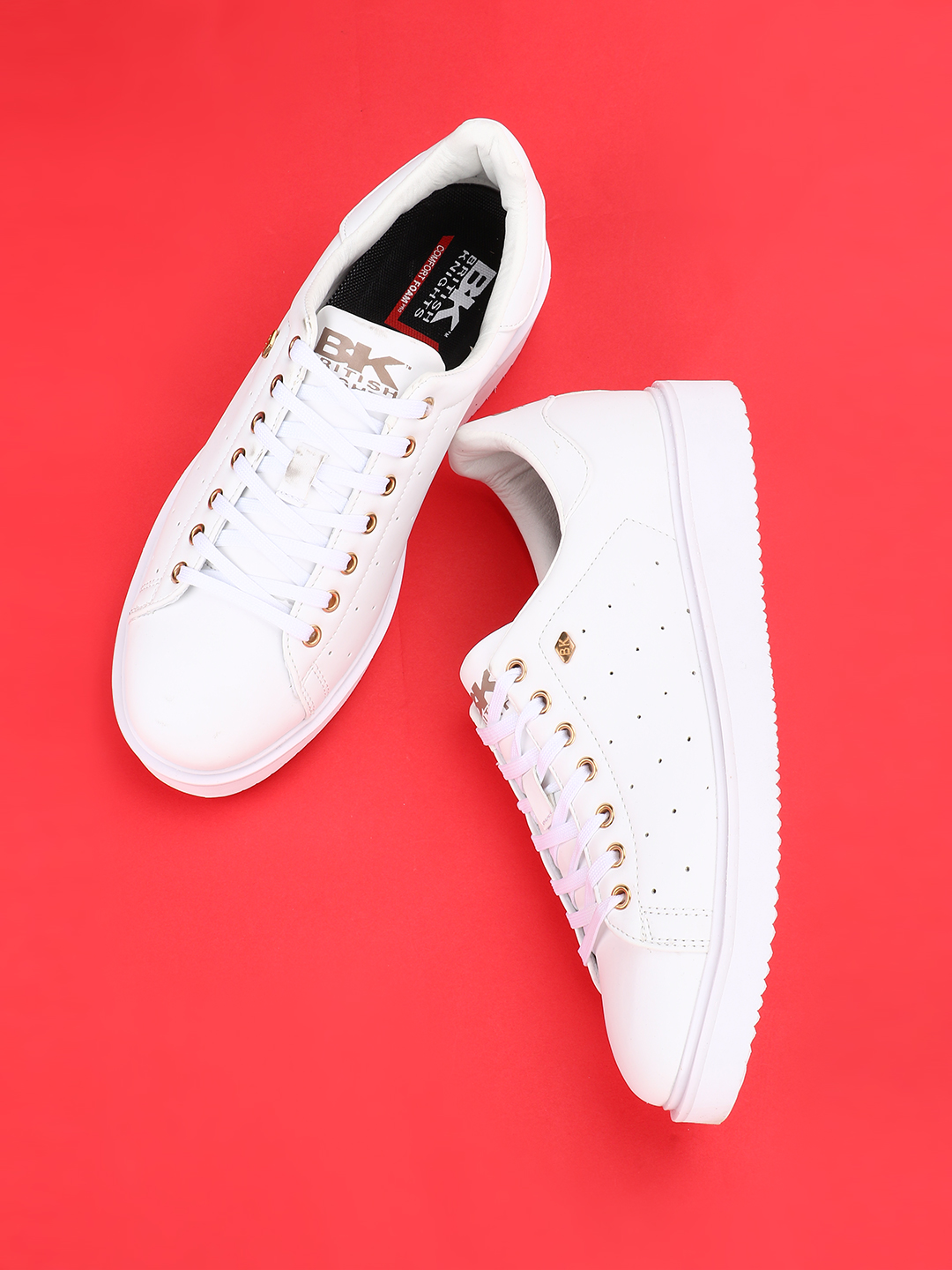 BRITISH KNIGHTS Off White Perforated Sneakers 1