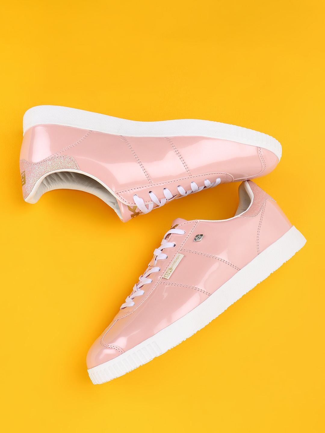 BRITISH KNIGHTS Pink Patent Metallic Sneakers 1