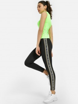 KOOVS Repeat Print Side Tape Leggings