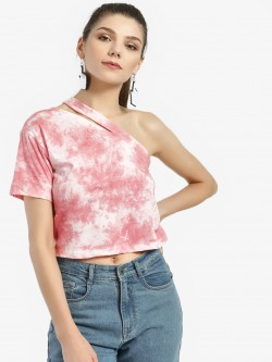 KOOVS One Shoulder Tie Dye T-Shirt