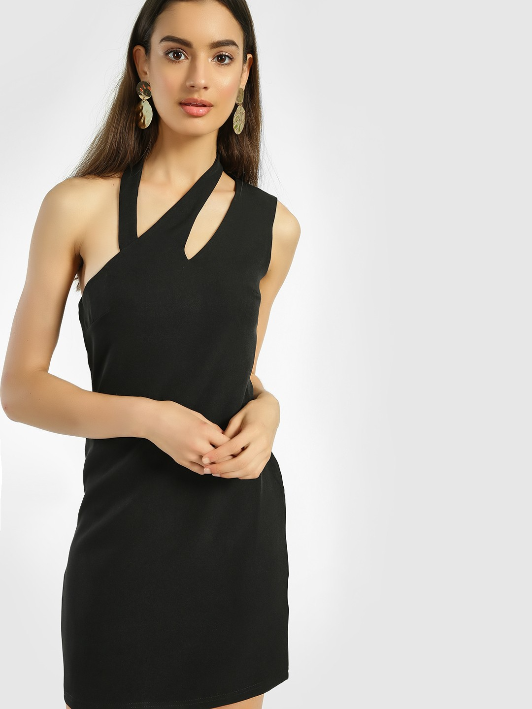 KOOVS Black Cut-Out Bodycon Dress 1